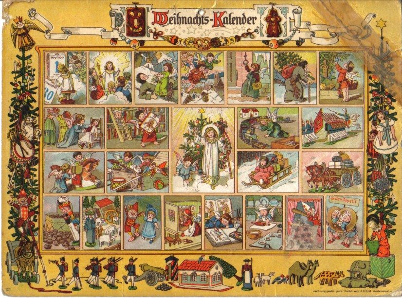 Motiv eines Bild-Adventskalenders um 1920