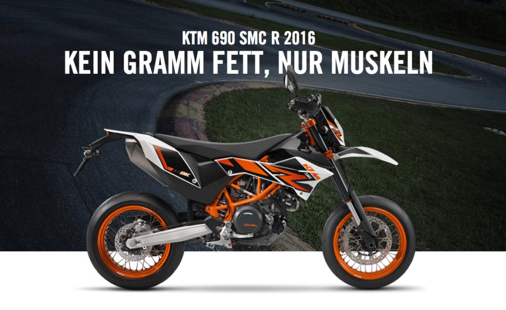 Kein Gramm Fett, nur Muskeln: die KTM 690 SMC R 2016 © KTM