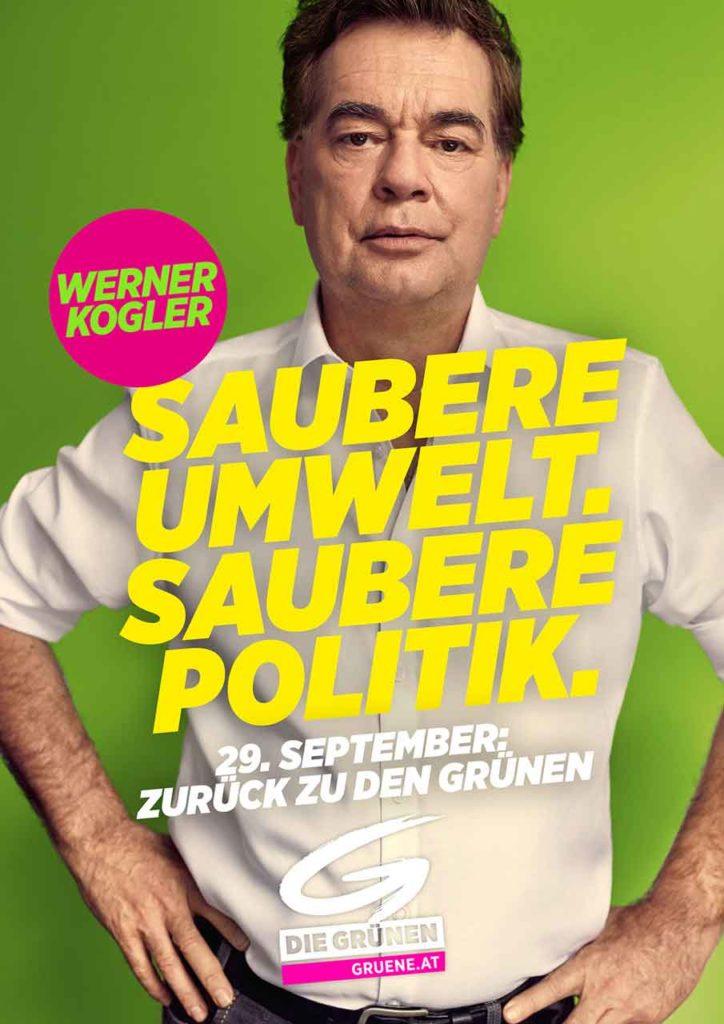 Wahlslogan 2019 der Grünen: Saubere Umwelt Saubere Politik