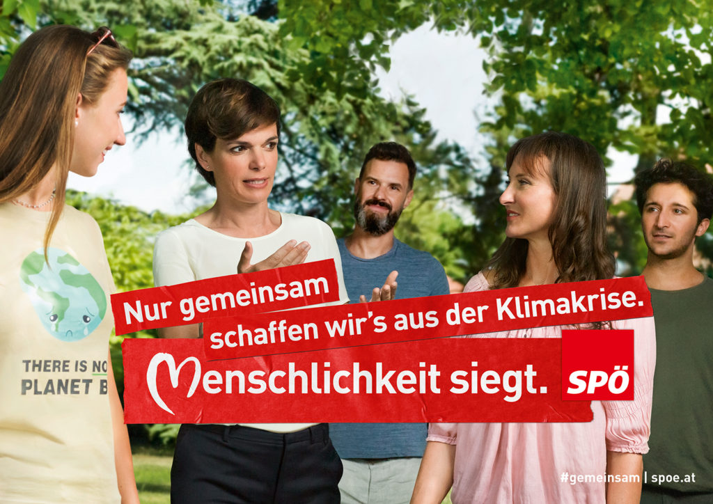 Wahlslogan 2019 der SPÖ: Menschlichkeit siegt