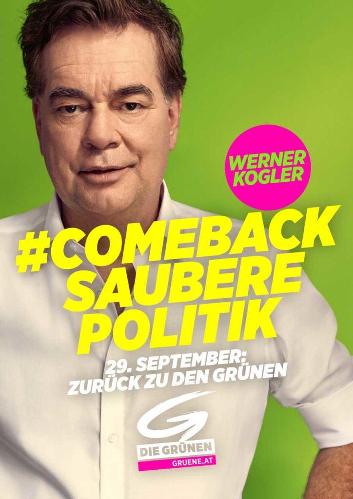 Wahlslogan 2019 der Grünen: Comeback sauberer Politik