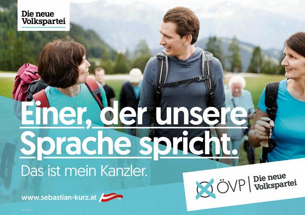 Wahlslogan 2019 der ÖVP: einer der unsere Sprache spricht