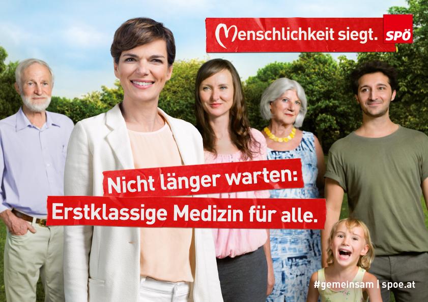 Wahlslogan 2019 der SPÖ: Erstklassige Medizin fuer alle
