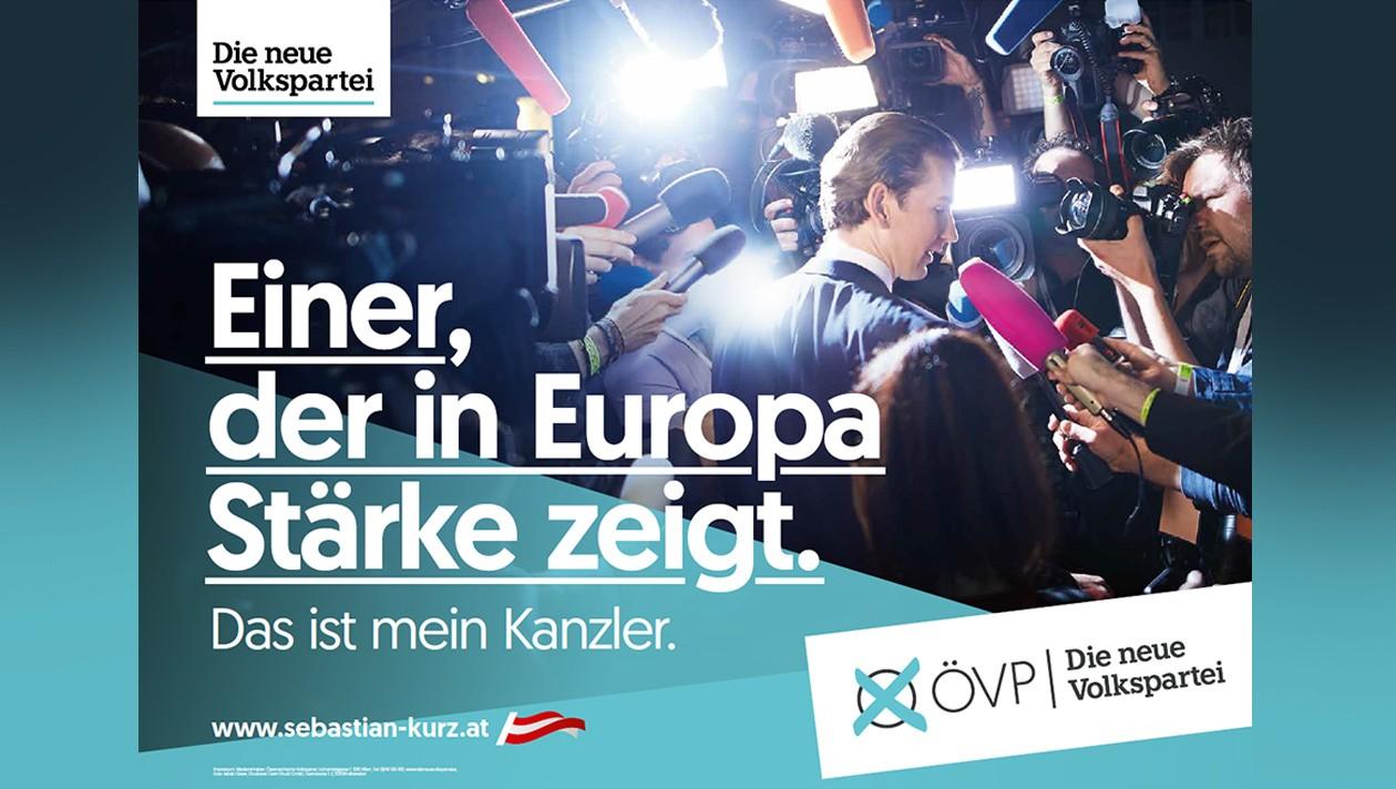 Wahlslogan 2019 der ÖVP: einer der in Europa Stärke zeigt