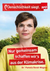 Wahlslogan 2019 der SPÖ: Nur gemeisam schaffen wir es aus der Klimakrise