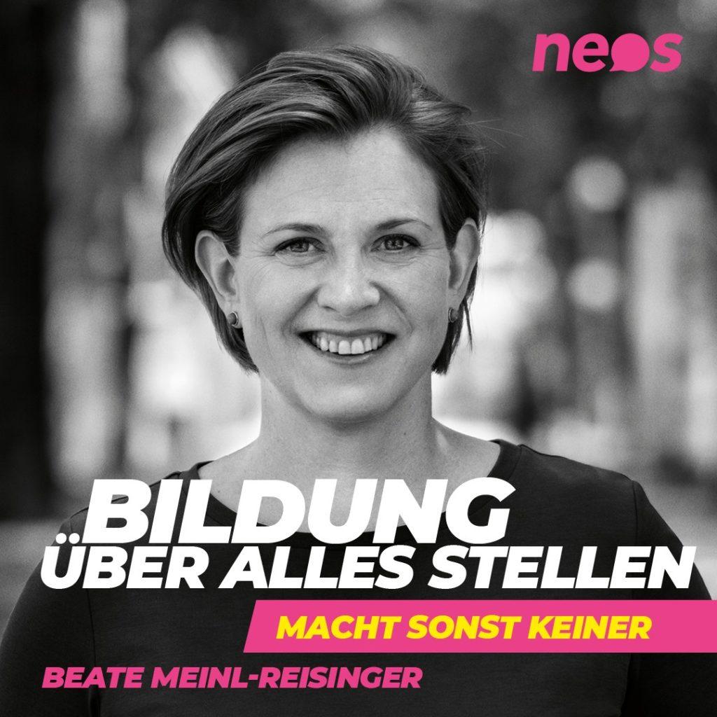 Wahlslogan 2019 Neos: Bildung ueber alles stellen