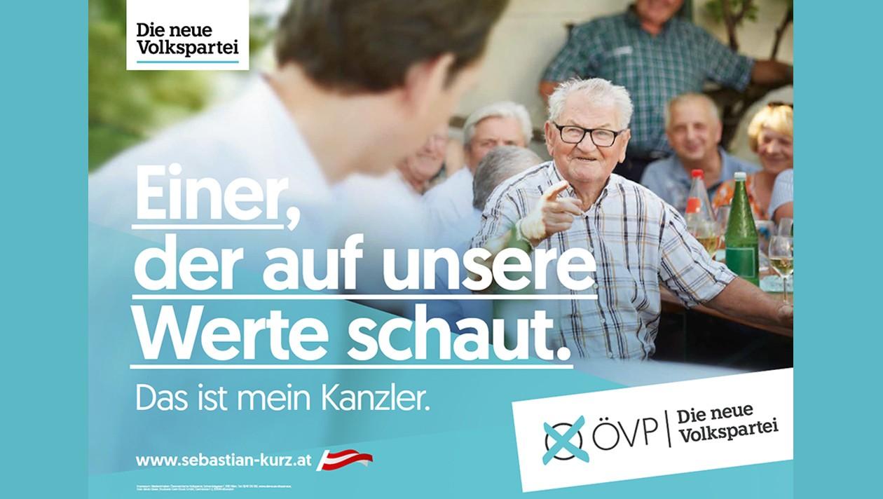 Wahlslogan 2019 der ÖVP: einer der auf unsere Werte schaut