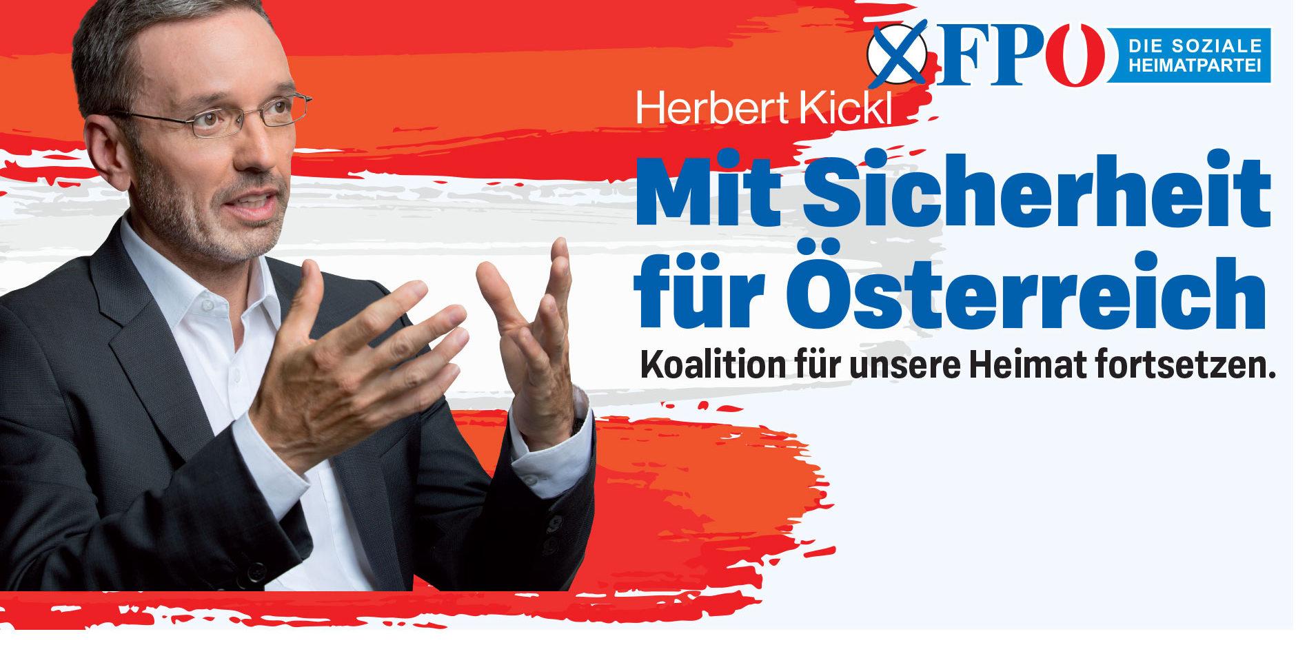 Wahlslogan 2019 der FPÖ: Mit Sicherheit fuer Oesterreich