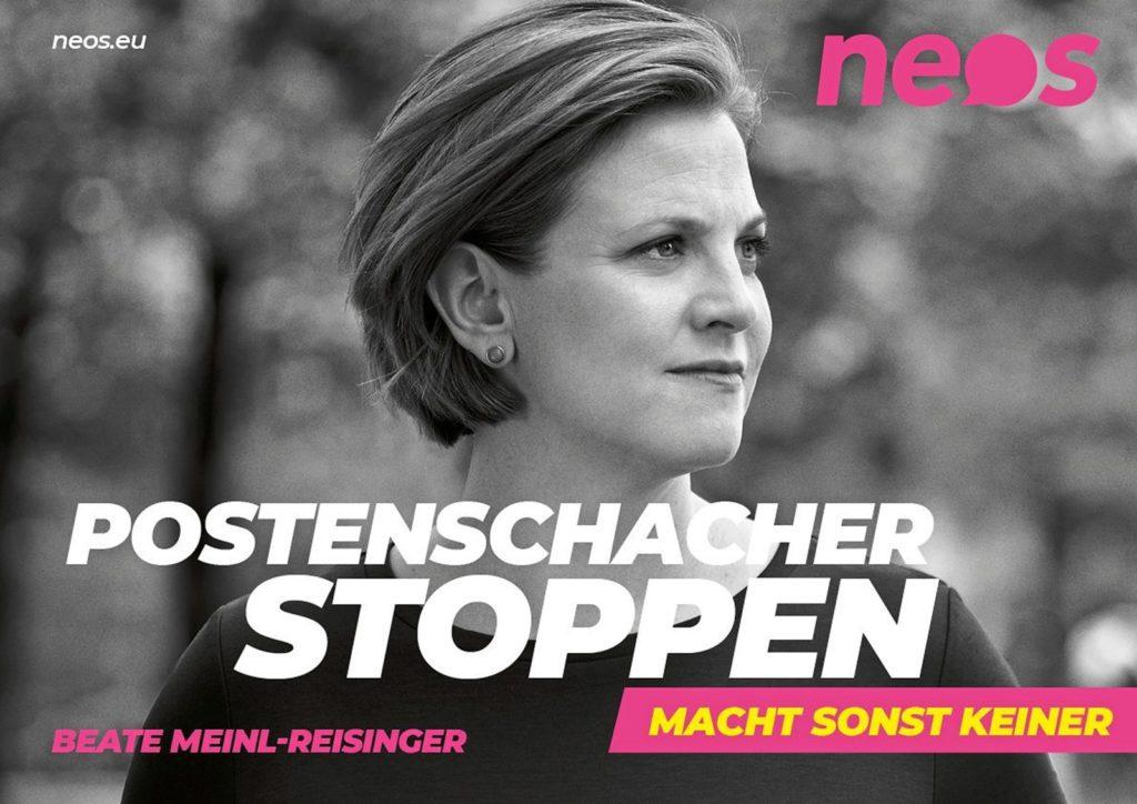 Wahlslogan 2019 Neos: Postenschacher stoppen