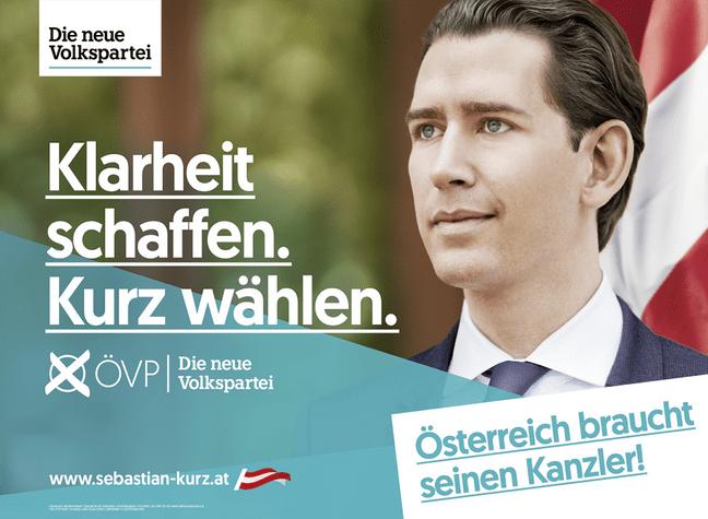 Wahlslogan 2019 der ÖVP: Klarheit schaffen Kurz wählen