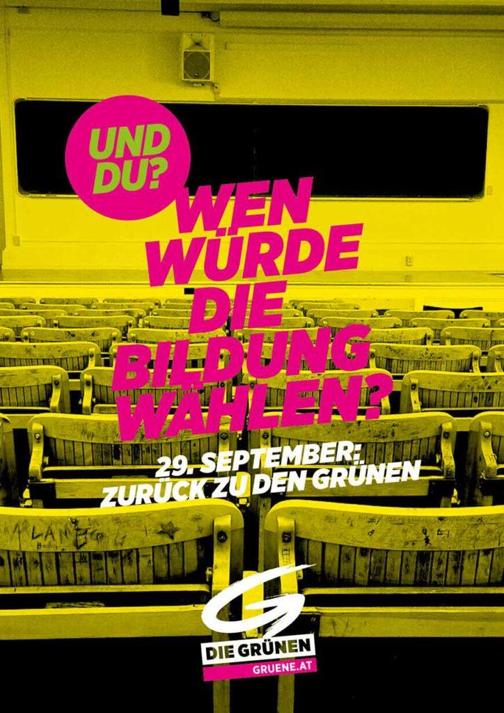 Wahlslogan 2019 der Grünen: Wen wuerde die Bildung waehlen